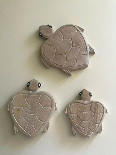 S//3 Wooden Boho Distress Wall Turtles Hanging Retro Vintage Sea-life Coastal