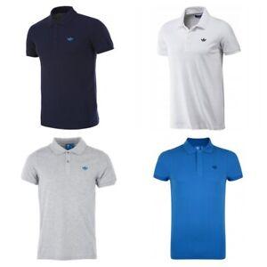 Adidas-Originals-Mens-Trefoil-Pique-Polo-Shirts-Cotton-Casual-Navy-White-Grey