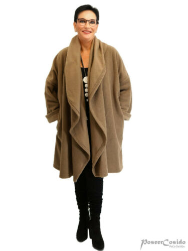 LAGENLOOK Big Kragen Fleece Jacke Kurz-Mantel 46 48 50 52 54 56 58 XL-XXL-XXXL