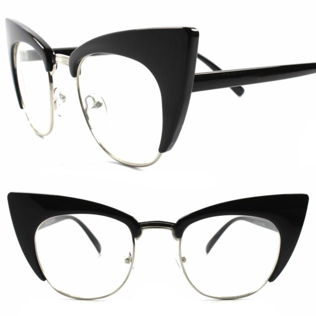 Classic Retro Look Fashion Elegant Chic Pointy Cat Eye Black Clear Lens Glasses