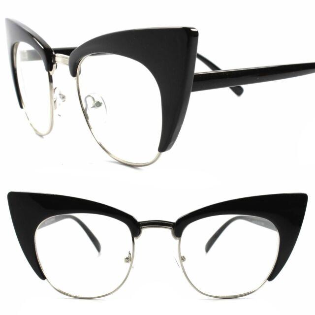 Classic Retro Look Fashion Elegant Chic Pointy Cat Eye Black Clear Lens Glasses