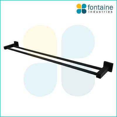 Double Towel Rail Square Matt Black Modern NEW Bathroom