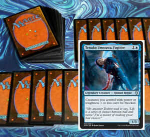 mtg-BLUE-TETSUKO-COMMANDER-EDH-DECK-Magic-the-Gathering-100-cards-unblockable