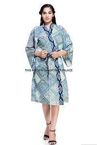61cf757317 Image is loading Indian-Cotton-Indigo-Print-Kimono-Bath-Robe-Hippie-