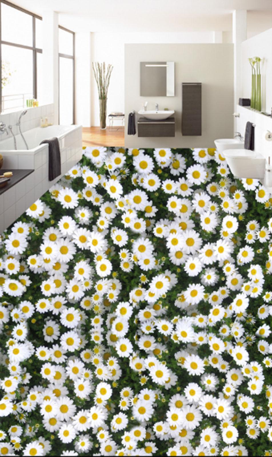3D White Flower 476 Floor WallPaper Murals Wallpaper Mural Print AJ AU Lemon