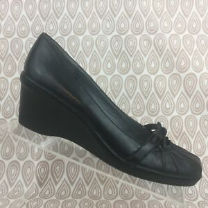 df25b342894 STEVE MADDEN ROBBEE Wedge Heel Size 9 M Womens Black Leather Mary ...