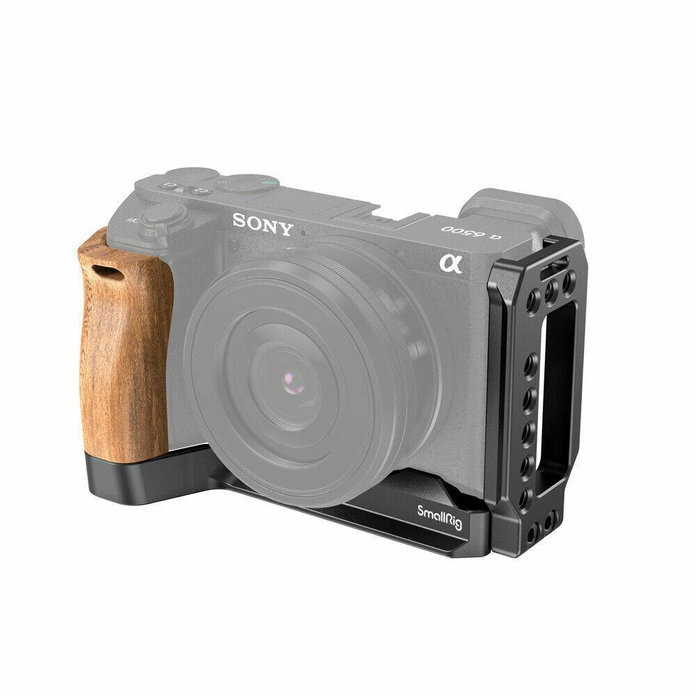 SmallRig Aluminum alloy L-Bracket Kit with Wooden Handgrip for Sony A6500 2074B