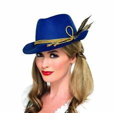 Blue Fit for Halloween Fancy Authentic Bavarian Oktoberfest Hat with Feather