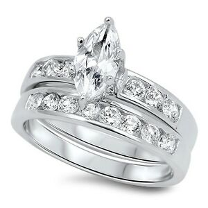 .925 Sterling Silver Marquise Cut Clear CZ Wedding Promise Ring Set Size 5 to 10