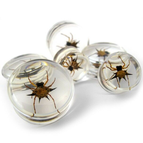 (5/8 - 24mm) Pair of Spider Inlay Resin Saddle Plugs - Pick Your Gauge Size