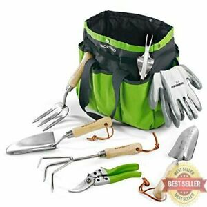 7 Piece Stainless Steel Heavy Duty Gardening Tools with Wooden Handle