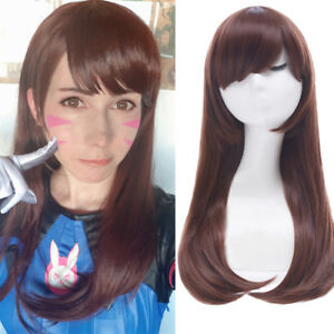 Details About OW Overwatch D.VA Long Straight Dark Brown Cosplay Full Wig  Halloween Party Wigs