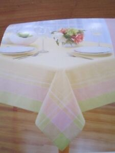 Image Is Loading PRIMROSE PLAID PASTEL SPRING TABLECLOTH 60 X 104