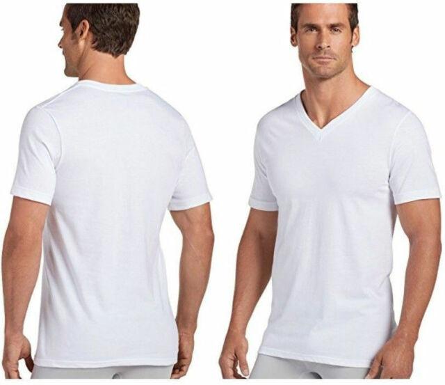 6 Pack Hanes Classic Mens White V-Neck T-Shirts Undershirts S XL Tag-free