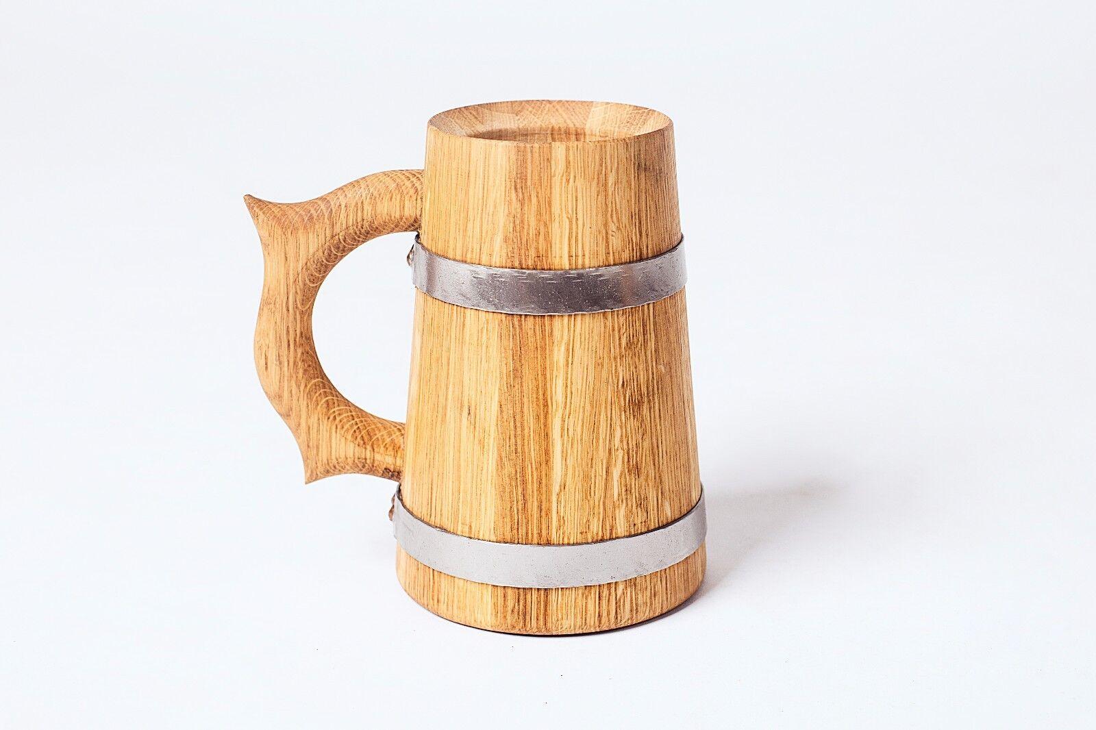 En bois Chêne Bière Tasse Tankard 0,7 L solide avec inoxydable Hoops Lot de six