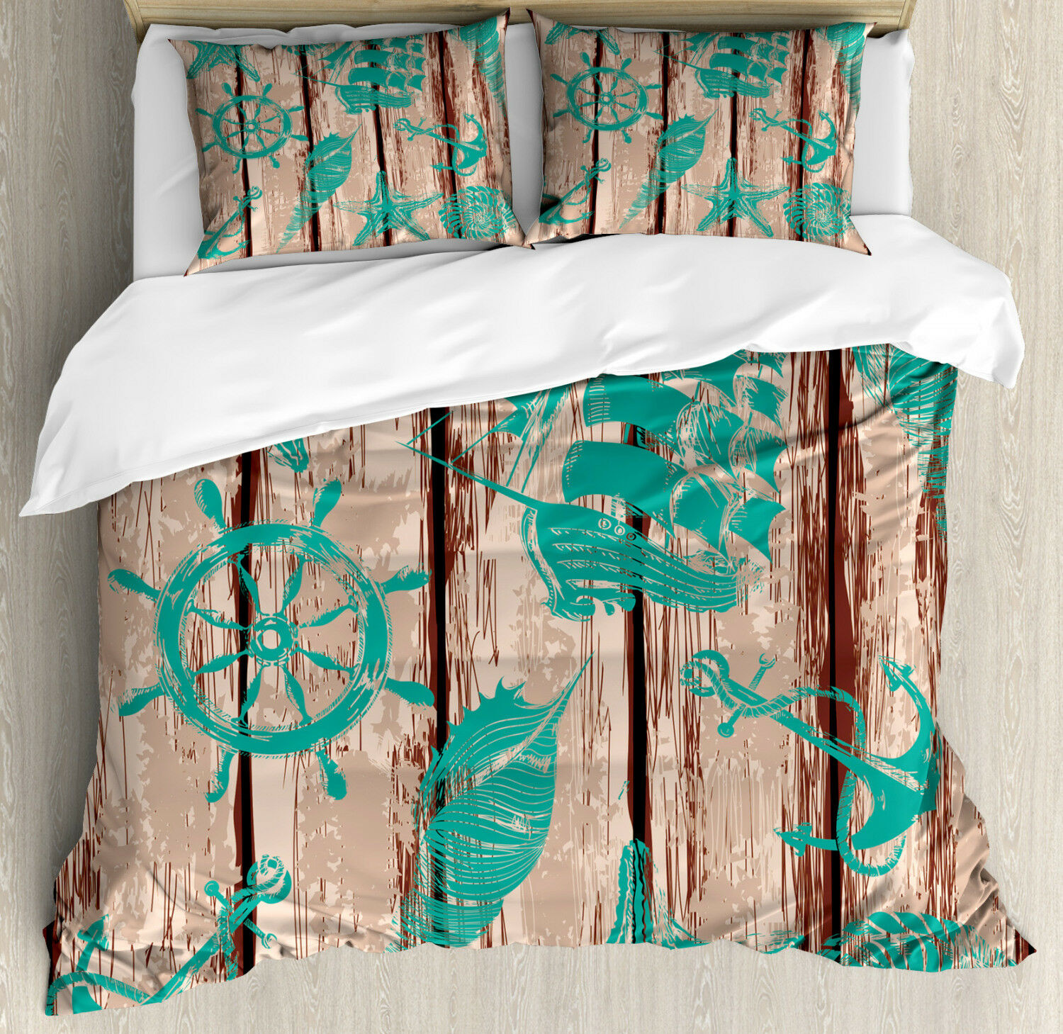 Nautical Duvet Cover Set with Pillow Shams Shell Helm and Ship Print