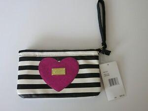 Luv-Betsey-Johnson-Wristlet-Purse-Bag-Tote-Travel-Black-White-Pink-Heart-Wallet