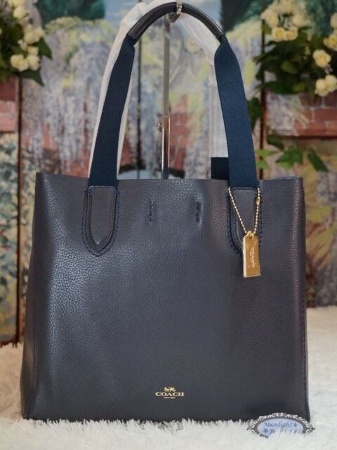 Coach F58660 Derby Tote Pebble Leather Midnight Navy Lapis