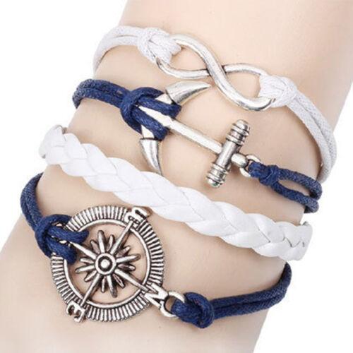 NEW Jewelry Fashion en cuir mignon lnfinity Bracelet Breloque Argent Lots style pick