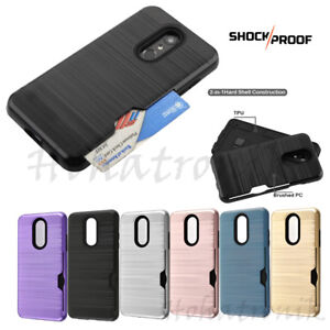 For-LG-Stylo-4-Hybrid-Rubber-Rugged-Hard-Card-Slot-Wallet-Case-Protective-Cover