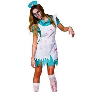 Mujer-Halloween-Zombi-Disfraz-de-Enfermera-Mujer-Zombie-Ropa-Con