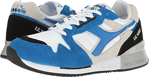 Diadora Unisex I.C 4000 NYL II White Princess bluee Black 14.5 Women   13 Men M