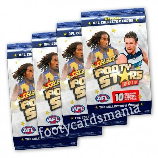 2018 AFL SELECT FOOTY STARS TRADING CARDS 10 x PACKS PICKED RANDOMLY 100 CARDS