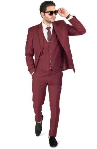 4030 knops Herenpak Fit 2 Slim Burgundy Notch Revers Azar Vest Man Optioneel FlK1JTc3u5