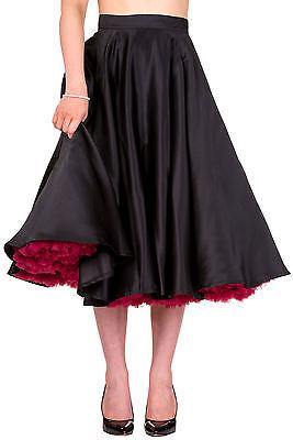 Banned Swing Circle Retro Rockabilly Pin Up 50s Midi Skirt 8 10 12 14 16 Black