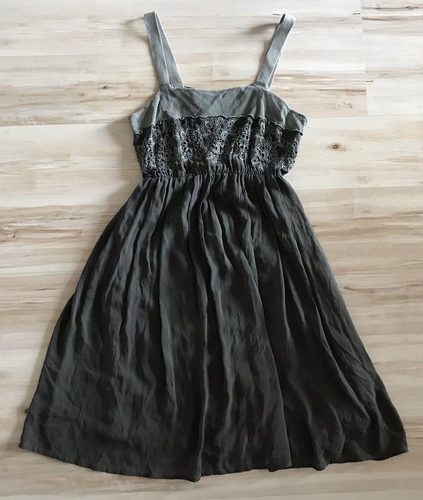 Original TANDEM Kleid Seide Trägerkleid Abschlussball Sommer grau Gr. M   38
