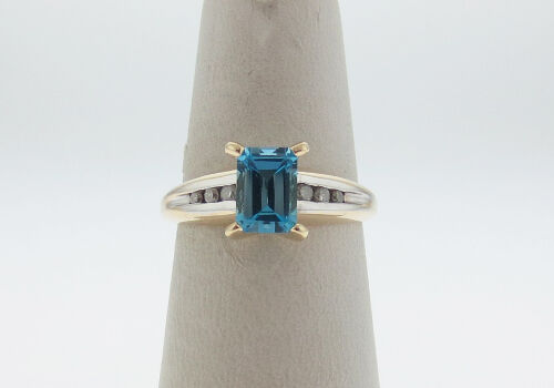 Natural bluee Topaz Diamonds Solid 10K Two Tone gold Ring FREE Sizing