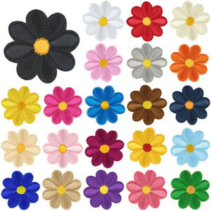 5-100P-Daisy-Flower-Patch-Embroidered-Iron-Sew-on-Applique-for-clothes-DIY-Badge