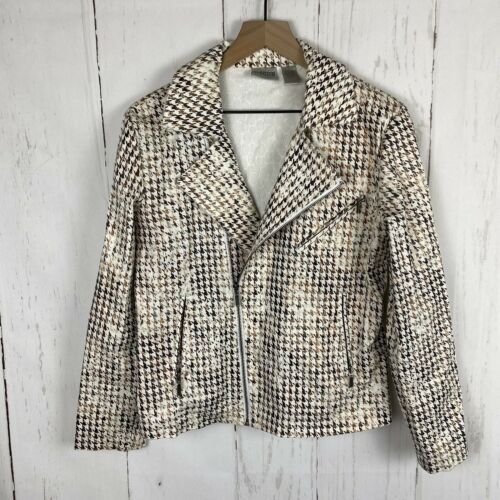 Chicos Moto Jacket size 1 med White Gold brown Asy