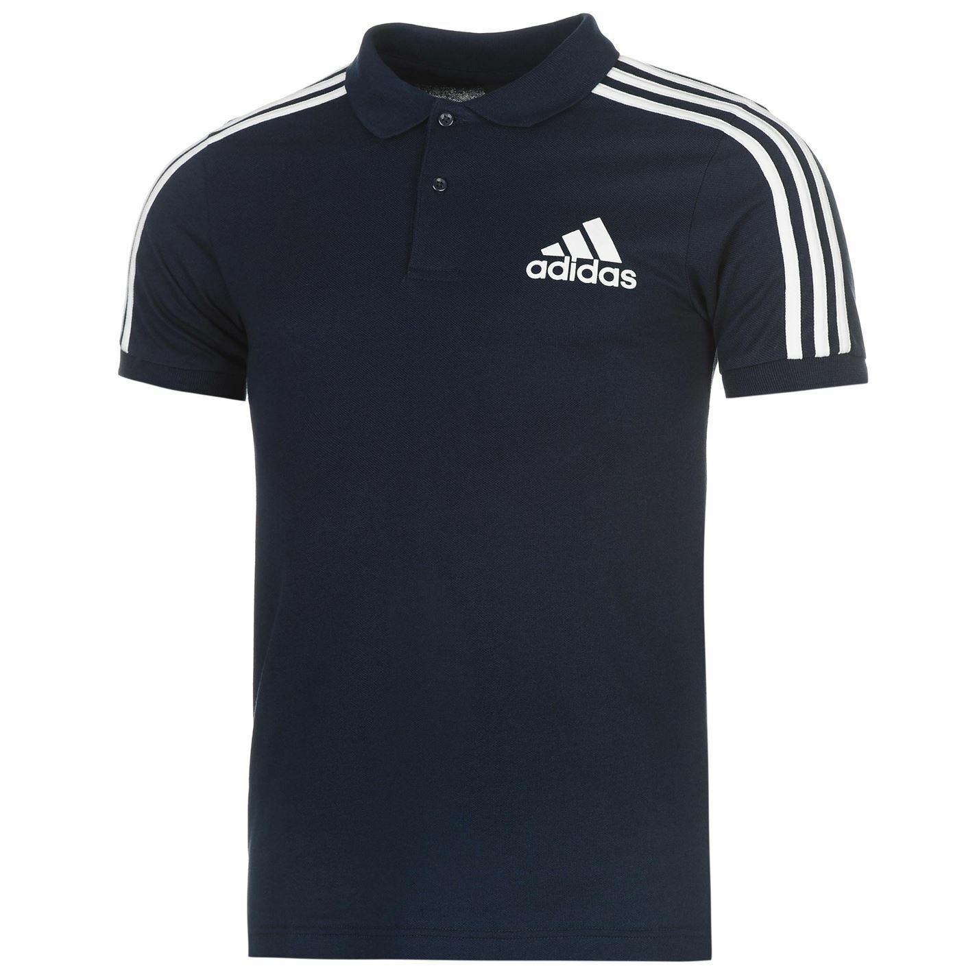 Adidas Adidas Adidas 3 Streifen Logo Polohemd Herren Marine Weiß Kragen T Top Sportkleidung | Authentische Garantie  317f2a