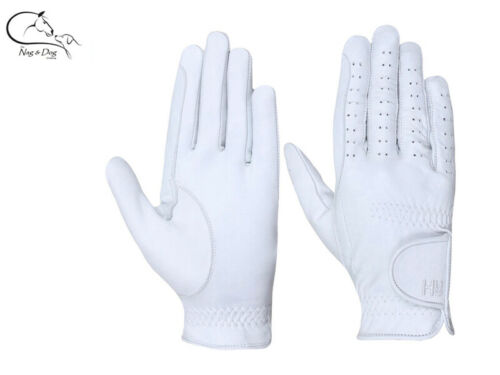 Hy5 Leather Adult RIDING GLOVES White All Sizes  Dressage FREE Delivery