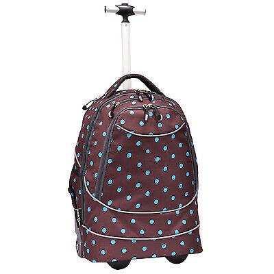 "Horizon 20"" Carry-on Polka Dot Brown Lightweight Wheeled Rolling Laptop Backpack"