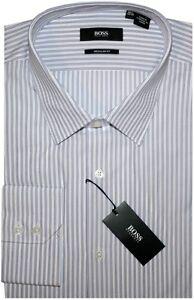 NEW-HUGO-BOSS-WHITE-w-PURPLE-STRIPES-REGULAR-FIT-DRESS-SHIRT-17-32-33