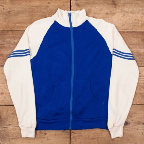 Mens bianca allenamento 1960's Sports da blu Talon vintage White '60 Talon anni Track Medium Vintage Zip Jacket Medium Zip sportiva Blue 38 38 Giacca 7AF0S