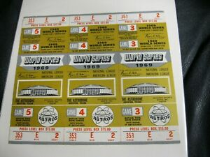 HOUSTON-ASTROS-1969-WORLD-SERIES-UNUSED-TICKET-STRIPS-Game-3-4-5