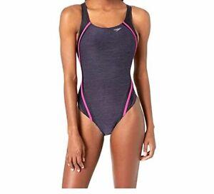 197-Speedo-Womens-Purple-Heather-Quantum-Splice-Y-Back-One-Piece-Swimsuit-Sz-14