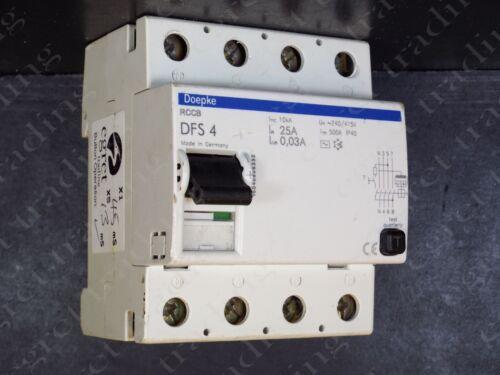 40A 63A 30mA RCD RCCB Circuit Breaker 4P Doepke DFS 4 25A TESTED