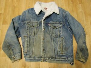 Vintage Levis Sherpa Jacket 42 R Distressed Mens Ebay