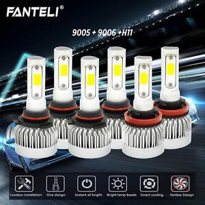 9005-9006-H11-LED-Headlight-Hi-Low-Beam-Bulb-6000K-Fog-Light-Sets-4965W-744750LM