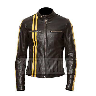 Moto Black Leather Jacket with Stars and Stripes Men/'s Big /& Tall Cafe Racer