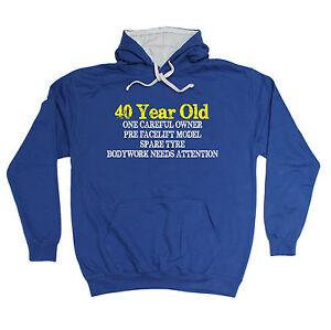 40 YEARS OLD ONE CAREFUL OWNER HOODIE hoody joke funny birthday gift present