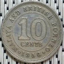 *GOOD Grade* 1956 - Malaya - 10 Cents Elizabeth II #CBNO