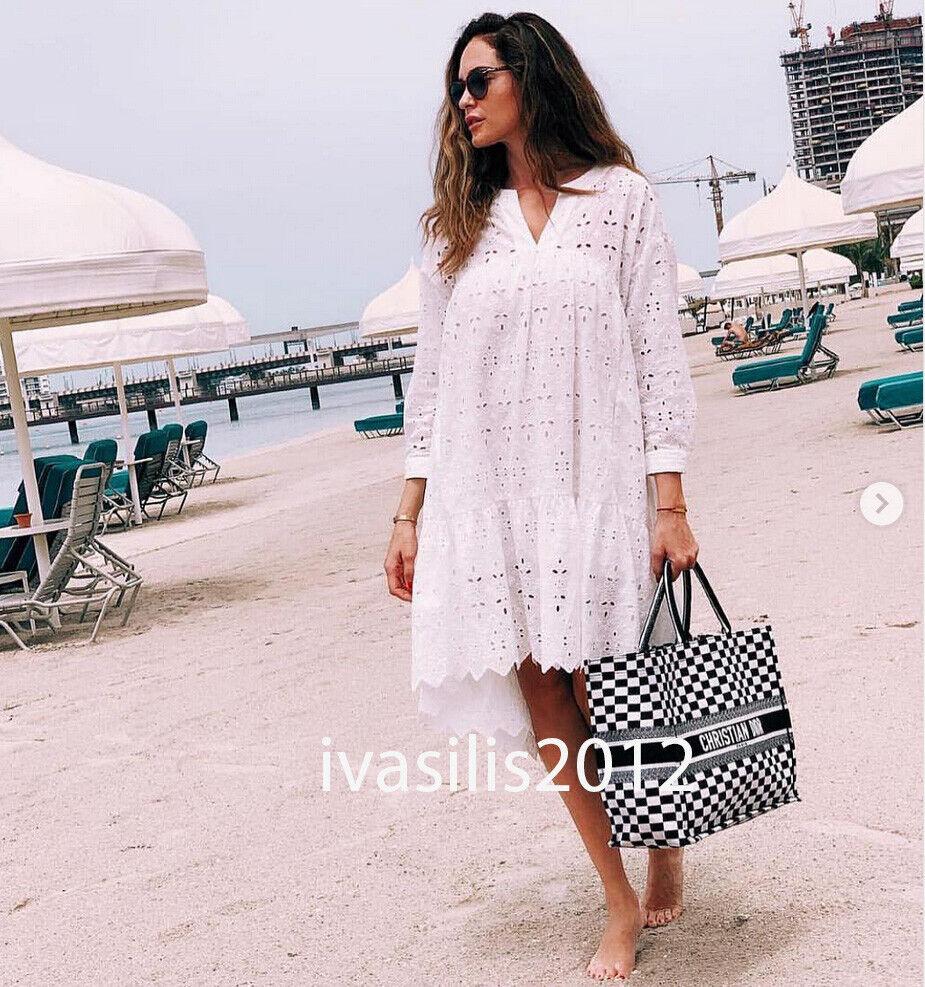 ZARA nouveau Midi robe travail de découpe Broderie à Volants Asymétrique Blanc XS-XL 4437 065