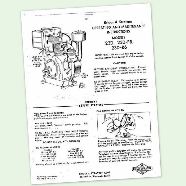 briggs and stratton model 23d 23d fb engine owners operators rh ebay com Briggs and Stratton OHV Engine Briggs and Stratton OHV Engine