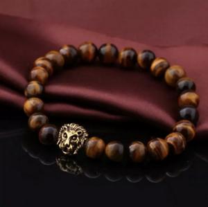 UK-Gold-Lion-Mens-Tigers-Eye-Crystal-Gemstone-Beaded-Bracelet-Will-Power