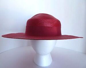 Liz Claiborne Accessories Red Wide Brim Hat w White Polka Dot Bow  ed1edc8a729e